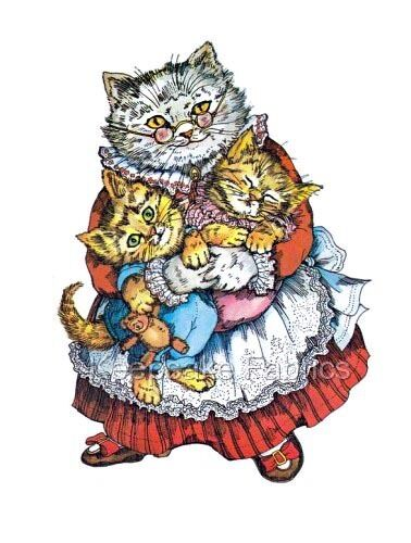 Whimsical Mother Cat & Kittens Quilt Block Multi Size FrEE ShiPPinG WoRld WiDE
