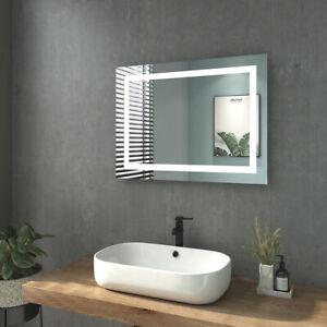 Details Zu 80x60 Badspiegel Mit Led Beleuchtung Wandspiegel Bluetooth Uhr Touch Sensor