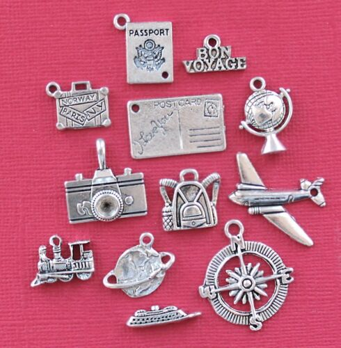 Travel Charm Collection 12 Tibetan Silver Tone Charms FREE Shipping E59