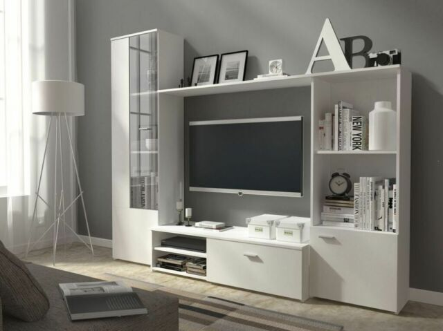 Living Room Furniture Set Tv Wall Unit Stands Cabinet Cupboards Shelf Modern Hug White For Online Ebay