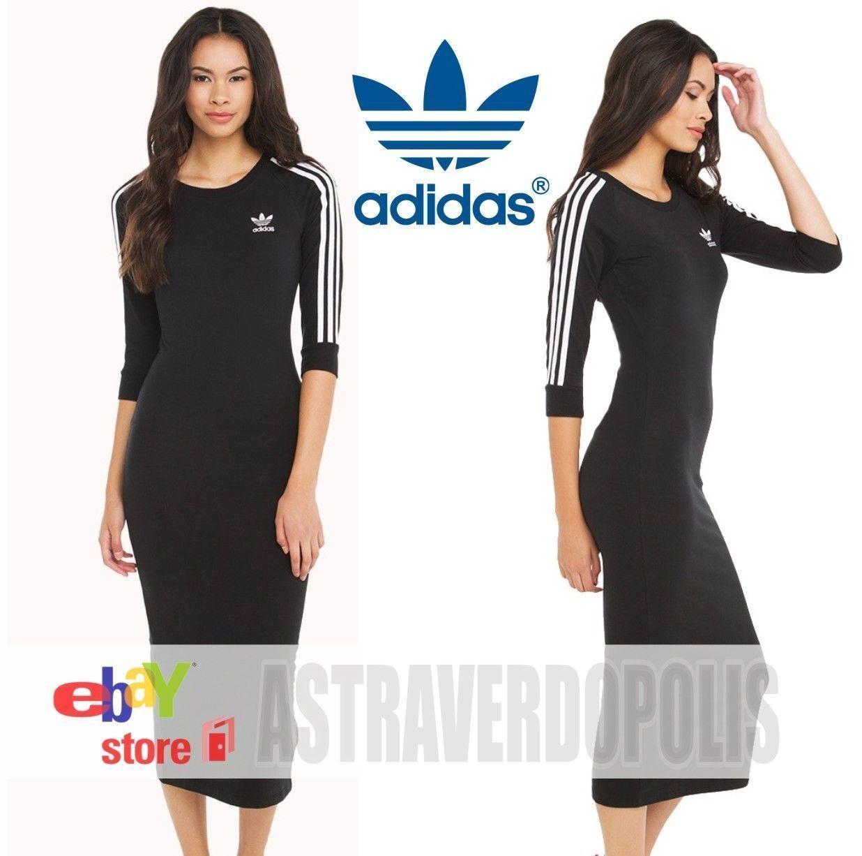 Adidas Originals Fekete 3-STRIPES DRESS Jacket Womens UK 14 Rita Ora Top AY5251