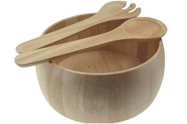 Apollo Solid Wood Salad Bowl and Servers 24cm Diameter x 10cm Depth