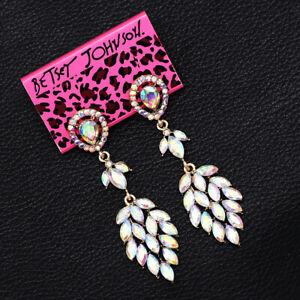 Betsey-Johnson-Women-039-s-Colorful-AB-Crystal-Dangle-Earbob-Wedding-Earrings-Gift