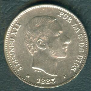 1885-Spanish-Philippines-50-Centimos-De-Peso-ALFONSO-XII-SILVER-Coin-AA1