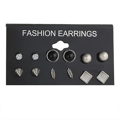 Wholesale 6Pairs/Set Girls Vintage Crystals Turquoise Ear Studs Earrings Jewelry