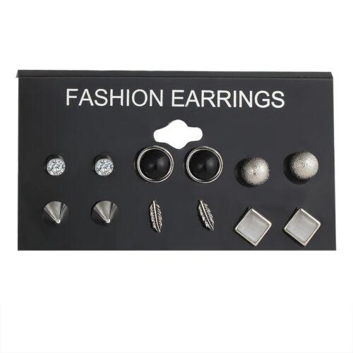 12 Pair Women Fashion Earrings Gift Elegant Pearl Crystal Rhinestone Ear Studs