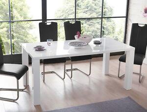 esstisch weiss hochglanz 120 160 x90x75cm ausziehbar. Black Bedroom Furniture Sets. Home Design Ideas