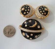 Swarovski Black Enamel Crystal Celestial Brooch Pin Earrings Set Moon Stars Swan