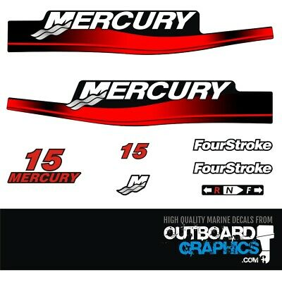 Mercury 15 HP Two Stroke outboard engine decal sticker Set 1989-1993