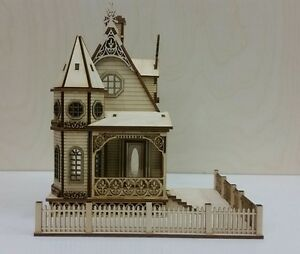 1:48 Scale Jasmine Gothic Victorian Cottage Dollhouse Kit 0000399