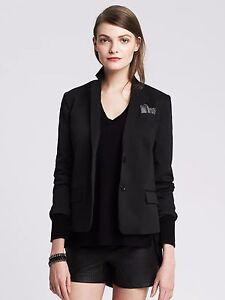 New Banana Republic Cropped Sateen Blazer Jacket Black SZ 8