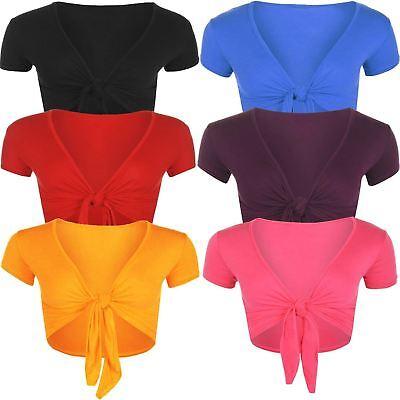 Cooperativa Nuova Linea Donna Corpetto Cardigan Anteriore Tie Knot Wrap Shrug Crop Top 8-14-mostra Il Titolo Originale
