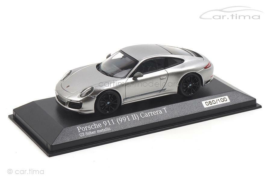 Porsche 911 (991 II) Carrera T-GT-Argent Roue Noir-Minichamps 1 43 - ca0