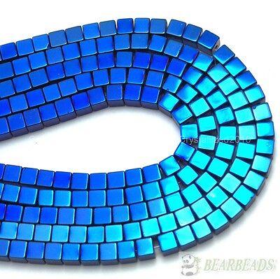 Hematite Gemstone Square Cube Beads 16'' Metallic Silver Gold Multi-Colored
