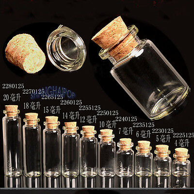 10 X Clear Glass Bottle Vial Jar Tube Empty Message Wishing Charm Pendant Cork