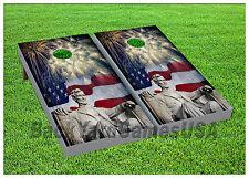 VINYL Abe Lincoln Independance Day Celebration WRAPS CORNHOLE BEANBAG Boards 964