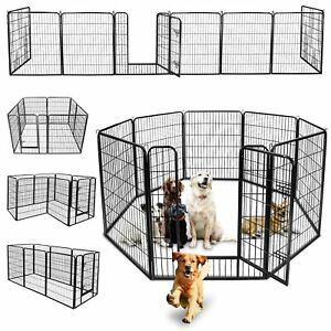 96-034-L-x-39-034-H-8-Panel-Exercise-Fence-Metal-Dog-Playpen-Multiple-Shape-Safe-For-Pet