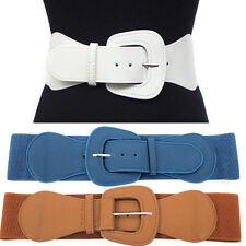 Urban Women Cinch Fashion Belt Elastic Stretch Waist Band Wide Hip S~XL Black
