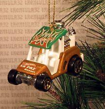 GOLF CART HOT ROD DRAGSTER GOLD GREEN CHRISTMAS ORNAMENT XMAS