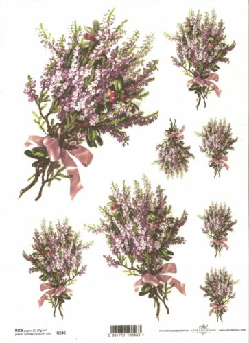 Papel De Arroz Para Decoupage Scrapbooking Racimo Flores de color púrpura ITD R246