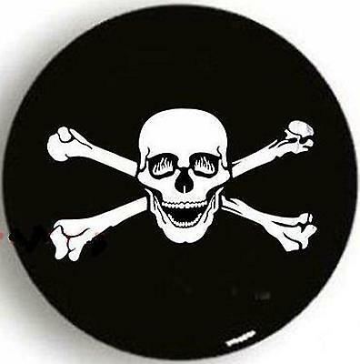 """SPARE TIRE COVER UNIVERSAL 29/""""-31.5/"""" w// Pirate Skull /& Crossords latex lined"""