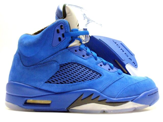 info for eb4f3 5b65b Nike Air Jordan 5 Retro Royal Blue Suede Black Flight Suit V Aj5 136027-401  8.5