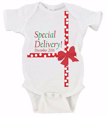 Preemie Special Delivery Baby Girl Christmas Outfit Baby Christmas Outfit December Baby Best Gift Ever Bodysuit Baby/'s First Christmas