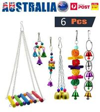 6X Parrot Hanging Swing Bird Toy Harness Cage Toys Parakeet Cockatiel Budgie AU