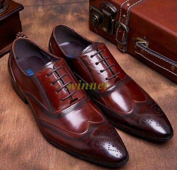 Hombre Cuero Real De Punta De Ala-estilo británico zapatos brogue vestido formal todos nosotros tamaño
