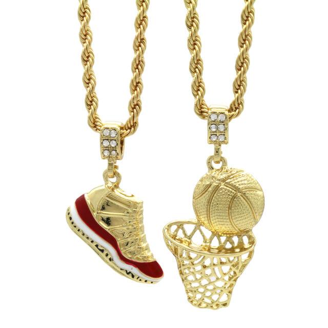 gold plated hip hop retro 11 cherry basketball pendant 4mm 24