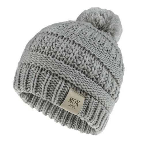 Girl Boys Child Hat Keep Warm Winter Knitted Hat Wool Hairball Ski Hat Beanie UK