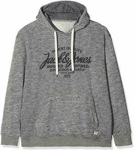 L Jack /& Jones Scale Branded Hooded Top Dark Grey Navy S M XL