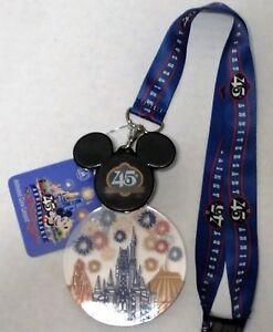 NEW Disney Parks WDW Magic Kingdom 45th Anniversary Mickey Mouse Lanyard Medal