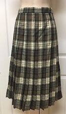 James Pringle Weavers Scotland Gray Plaid 100% Wool Pleated A-Line Skirt Sz 14