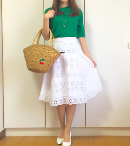 Zara White Combined Skirt With Cutwork Embroidery Size MEDIUM BNWT