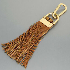 Gold Finish Brown Leather Tassels Designer Inspired Bag Key Chain