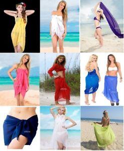 4563badab6d11 ❤ LADIES PLAIN SARONG BEACH POOL COVER UP MULTI WAY WRAP KAFTAN ...