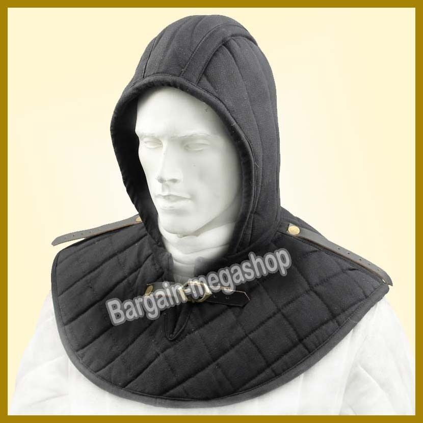 Medieval Chain Mail Padded Arming Gorget Cap Cotton Padded Inner Cap Black Color
