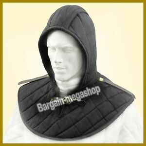 Medieval Chain Mail Padded Arming Cap Cotton Padded Inner Cap Black Color