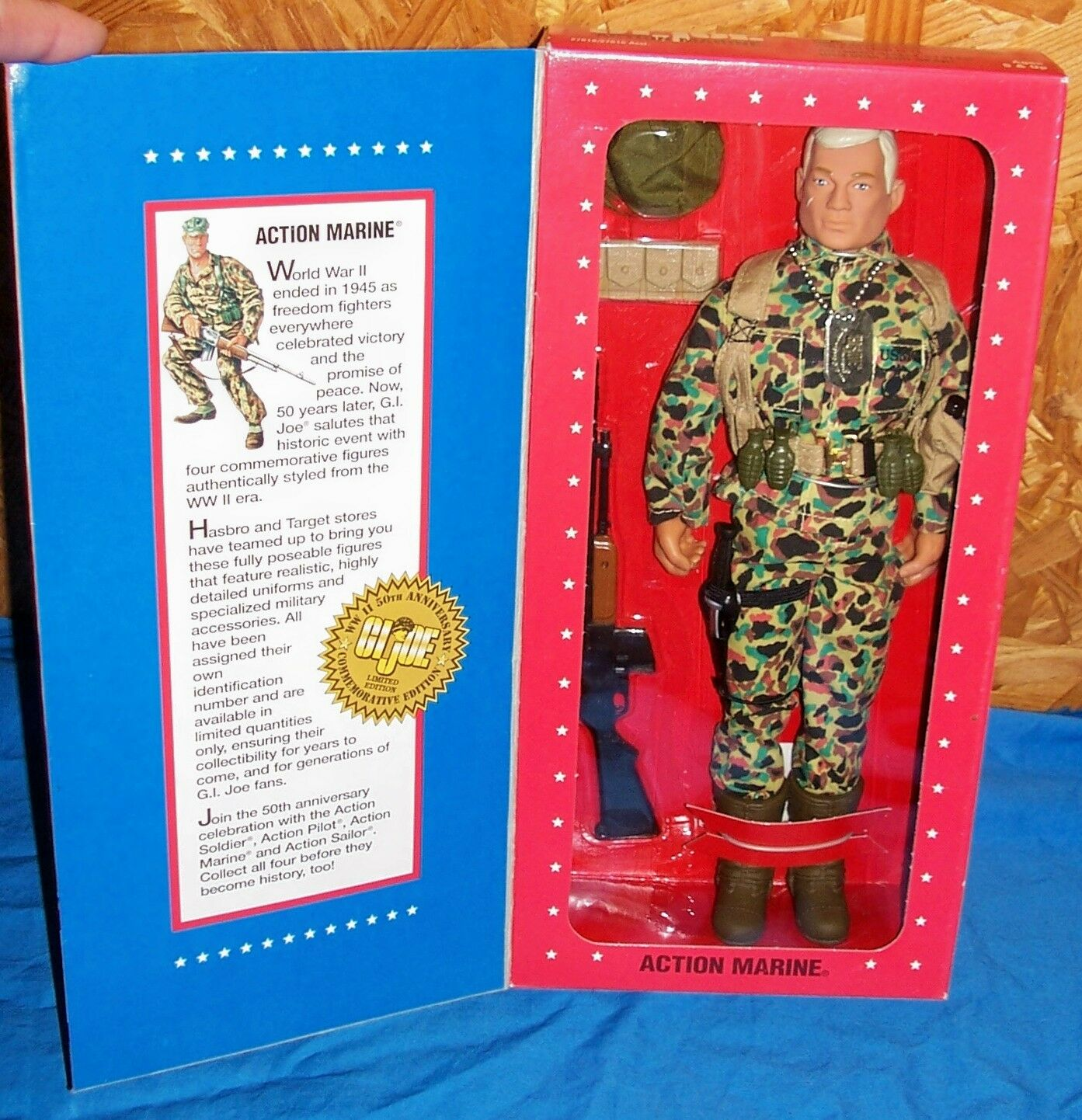 """1995 GI Joe Action Marine Limited Edition WWII Figure 12"""" Hasbro Old Action Toy"""