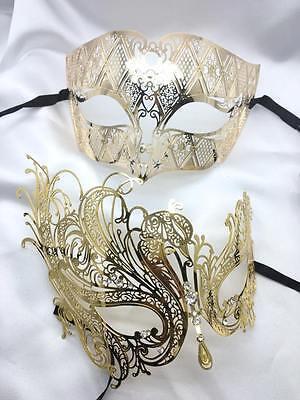 Luxury women mask Couple Lover 2x Masquerade Party Mask Gold Roman Men mask
