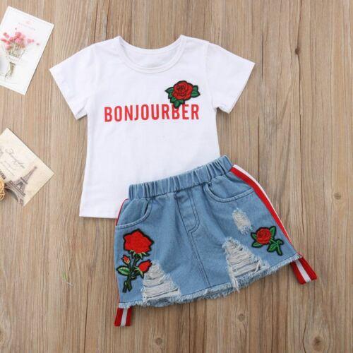 Kid Casual Clothing Set Baby Girls Kids Overalls Denim Skirt Letter Rose Floral