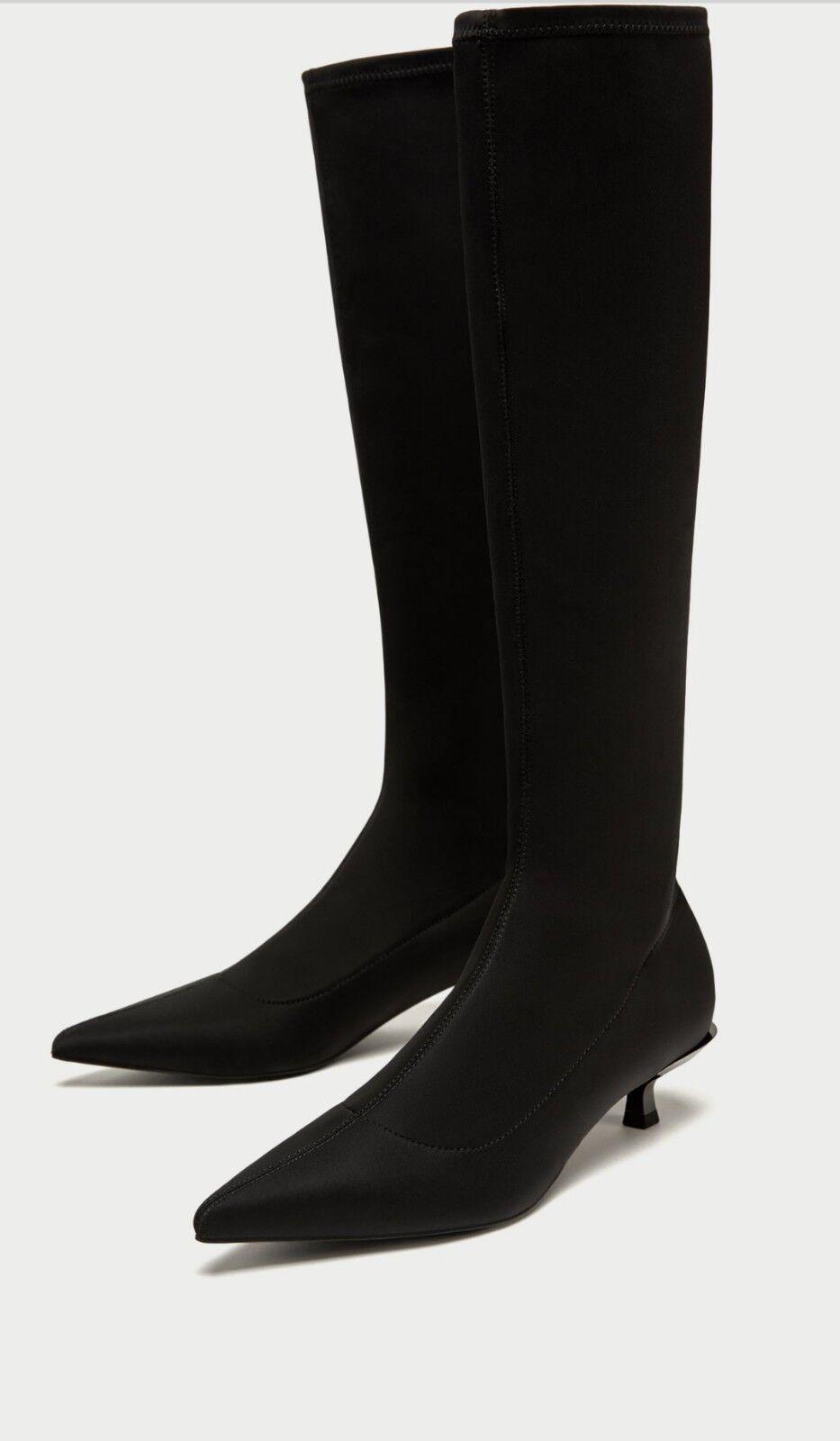 ZARA BLACK ELASTIC  HIGH HEEL BOOTS SIZE UK-7  EU-40