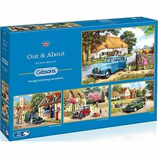 GIBSONS OUT & ABOUT 4 x 500 PIECE CLASSIC CARS & COTTAGES JIGSAW PUZZLES