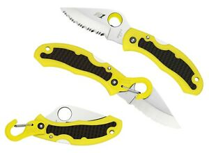 Spyderco-Snap-It-Salt-Yellow-FRN-Handle-H-1-Steel-Serrate-Edge-Knife-C26SYL