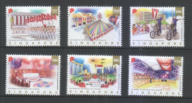 SINGAPORE 2016 50 YEARS OF NATIONAL DAY PARADE COMP. SET OF 6 STAMPS IN MINT MNH