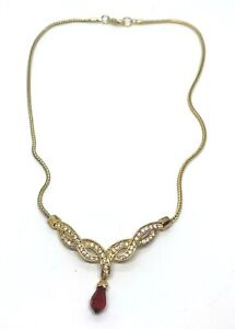 Vintage Gold Tone Crystal Ruby Rhinestone Beaded Pendant Chain Necklace Jewelry
