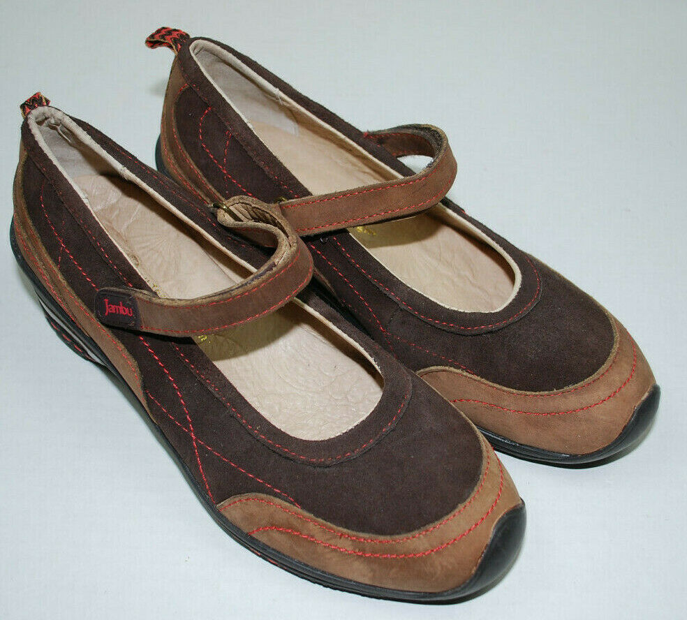 Jambu Womens shoes Size 8 M Formosa Brown Suede Leather Mary Jane Comfort 8M