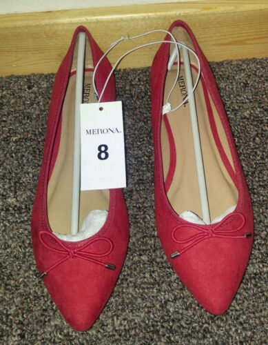 Women/'s Merona Noele Pointed Toe Flats NEW Size 8 Red