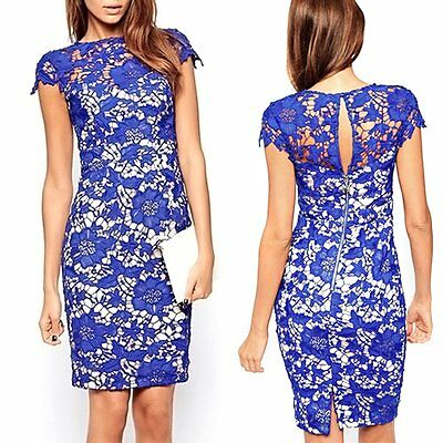 Women Floral Lace Short Sleeve Prom Cocktail Evening Party Bodycon Mini Dress